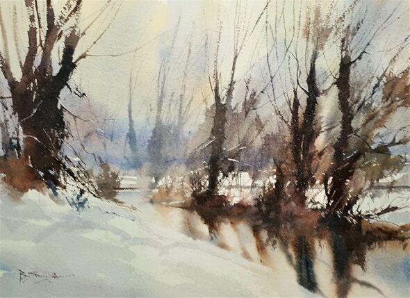 Winter, River Wey (Watercolour) 25x33cm