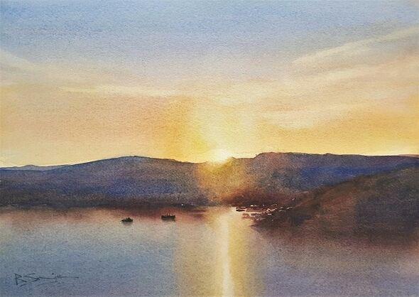 Cornish Dawn (Watercolour) 25x33cm