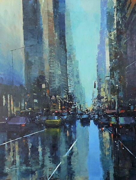 Manhattan Reflections (Acrylic) 42x34cm