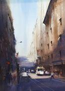 San Francisco Street Life (Watercolour) 44x32cm