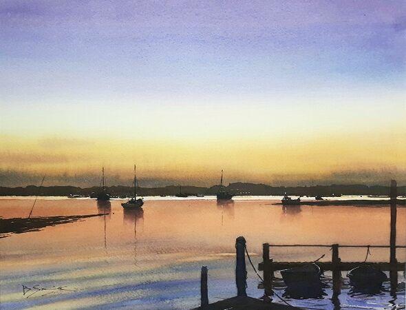 Dying Light, Bosham (Watercolour) 34x42cm