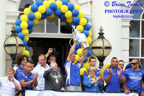 Adrian Morley leading the celebrations at the Town Hall