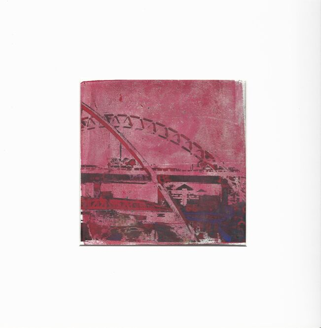Newcastle Bridges .. Monoprint.