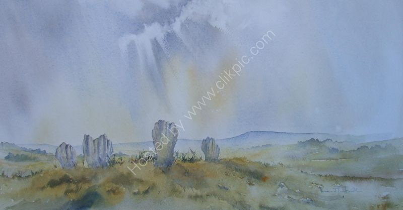 Duddo Stanes. A watercolour on Saunders Waterford paper.