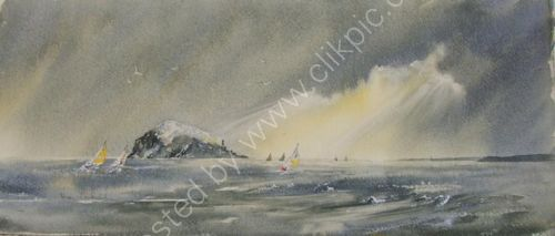 Rain squall over Bass Rock. ( Sold )