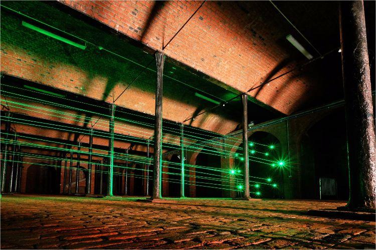 Biennial Art 'laser beams' at Toxteth Reservoir