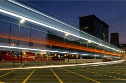 Bus light trails on Srand Road Liverpool