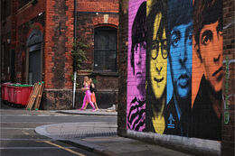 Colourful Beatles on the wall