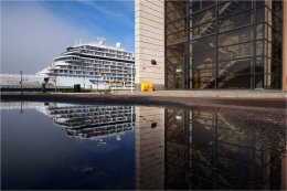 Cruise Liner reflection in Liverpool