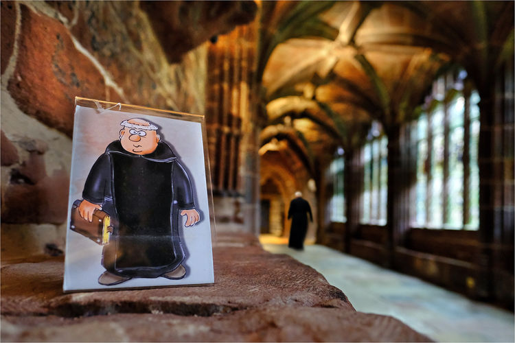 In the cloisters at Chester Cathedral