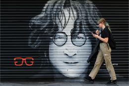 John Lennon window shutter by Paul Curtis