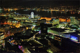 Liverpool from above night scene
