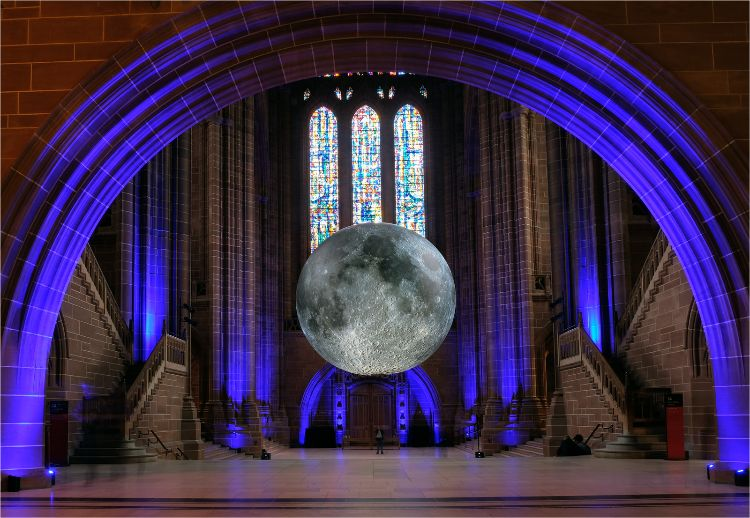 Museum of The Moon by Luke Jerram in the Anglican Cathedral Liverpool