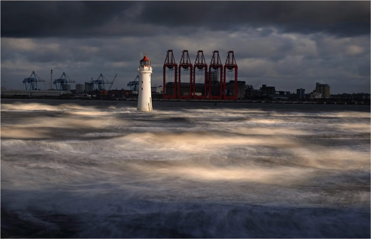 Perch Rock in rough seas