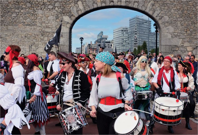 Pirate band at Salthouse Dock Arch Liverpool