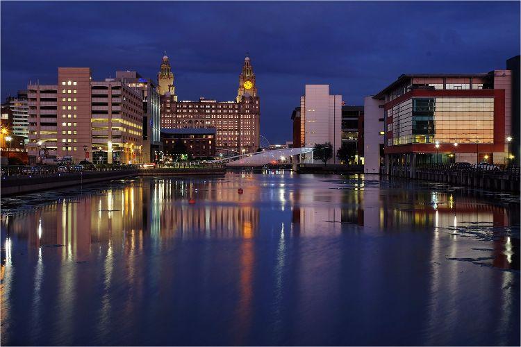 Princes Dock Liverpool night colours