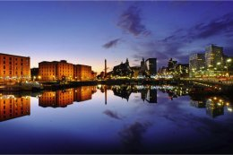 Reflections of Liverpool in Canning Dock