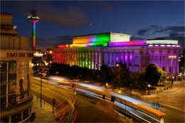 St Georges Hall in rainbow colours