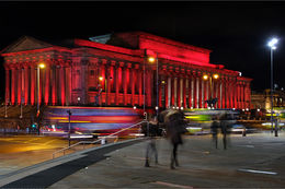 St Georges Hall in red
