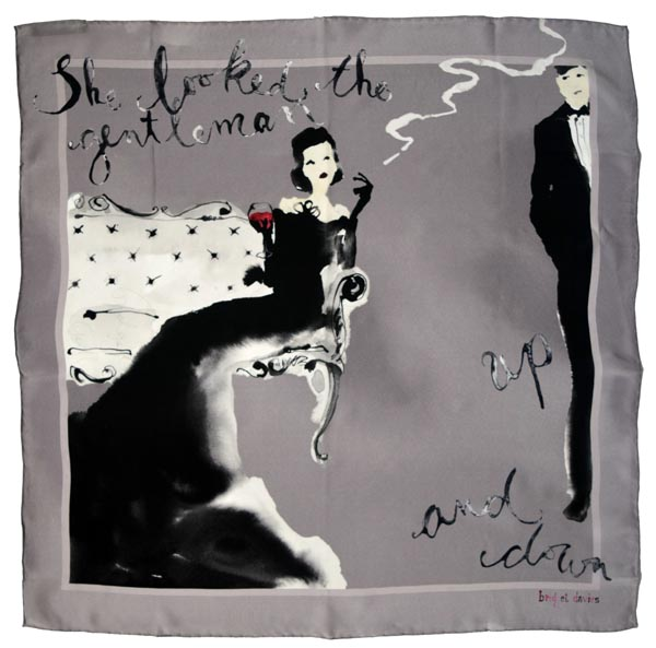 Silk Scarf - She looked the gentleman up and down