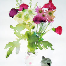Flowers and Silver Vase