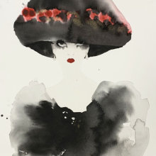 Hat with Red Flowers