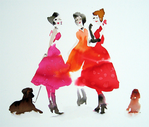 Three Ladies and Two Dogs - <span style=