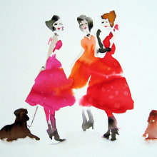 Three Ladies and Two Dogs - SOLD