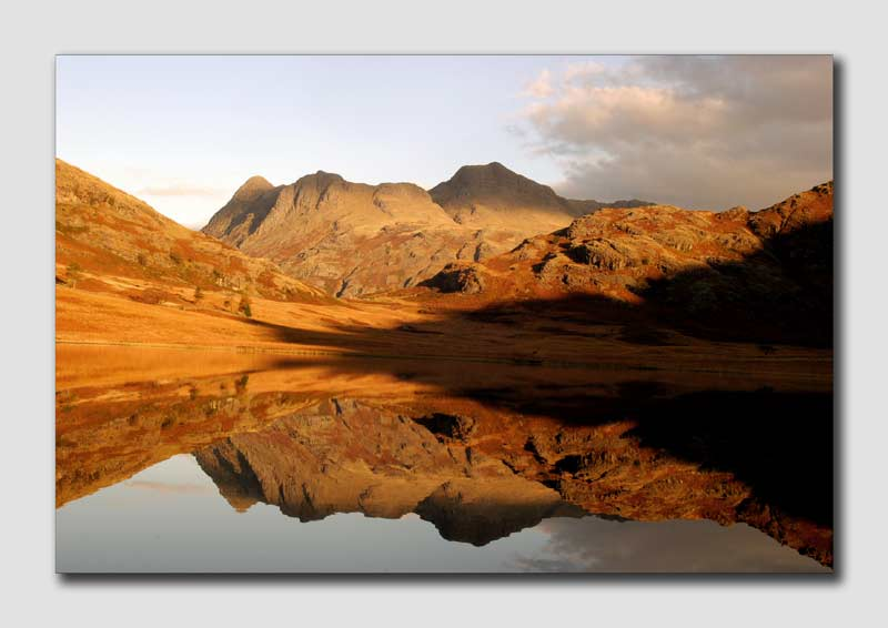 The Langdales Reflecting in Blea Tarn  -  LS020