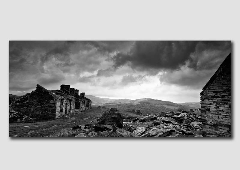 Capel Curig, Quarry Houses Pano 2 -Black & White