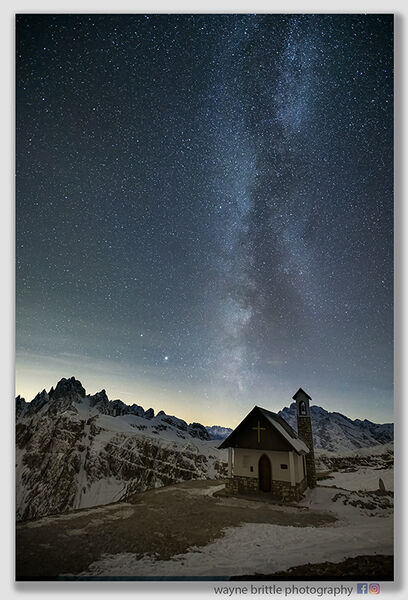 Dolomites Mountain Chapel Refuge and the Milky Way 3 - W5D46384