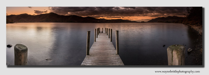 Derwentwater Jetty at dusk - wide panorama - Cumbria