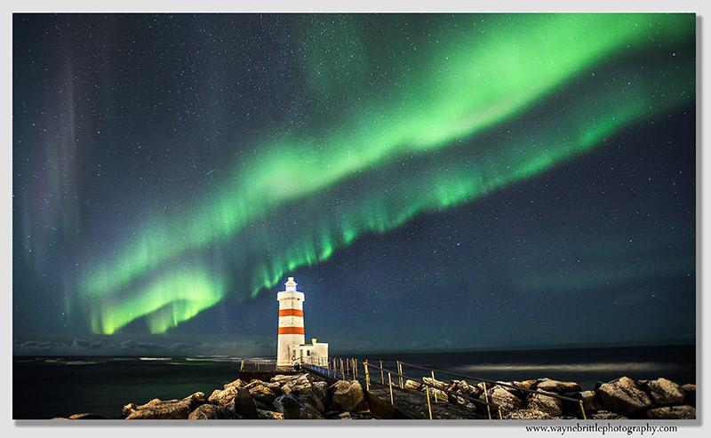 Gardur and the aurora sky