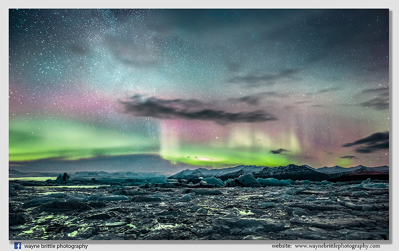 Ice Lagoon Aurora - South Iceland