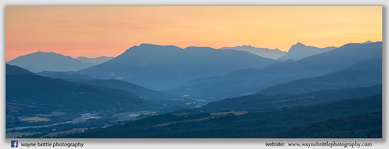 Provence Mountains Before Dawn - Panorama