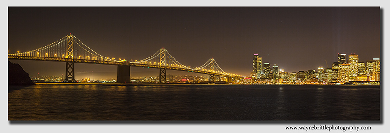 San Francisco, Bay Bridge at Night - Panorama