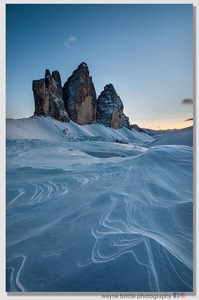 Tre Cime Di Lavaredo Last Light in the snow-2  W5D46333
