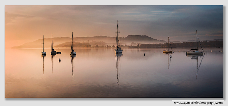 Waterhead Boats around dawn - Panorama