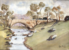 Country Bridge in the style of J Fletcher-Watson