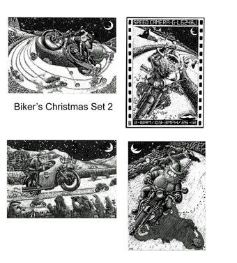 Biker's Christmas cards Set 2