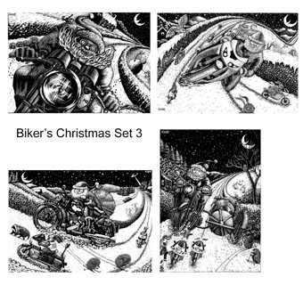 Biker's Christmas cards Set 3