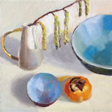 Blue bowls with persimmon