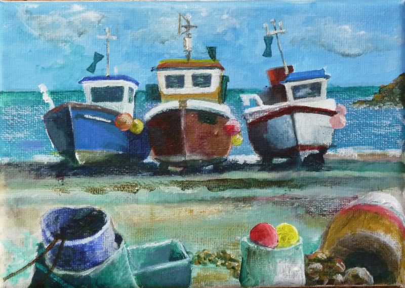 Hauled up at Cadgwith Cove. Acrylic 17x12cm