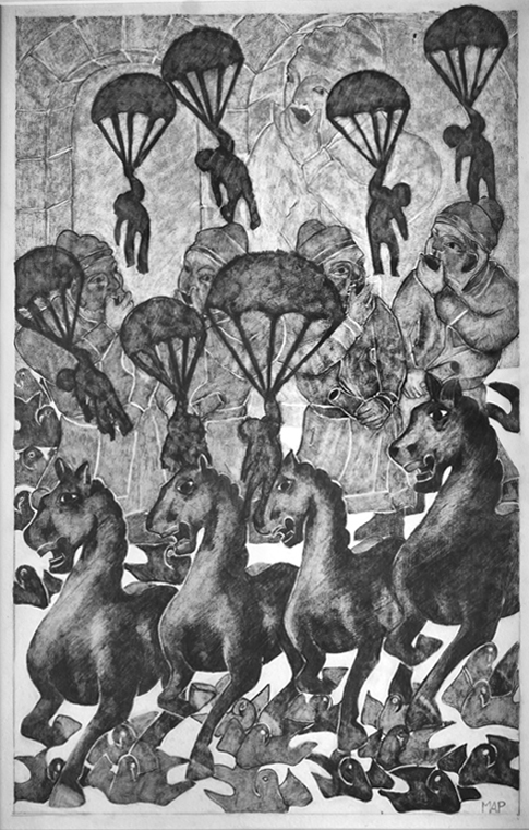 Horses, parachutes and whistling boys
