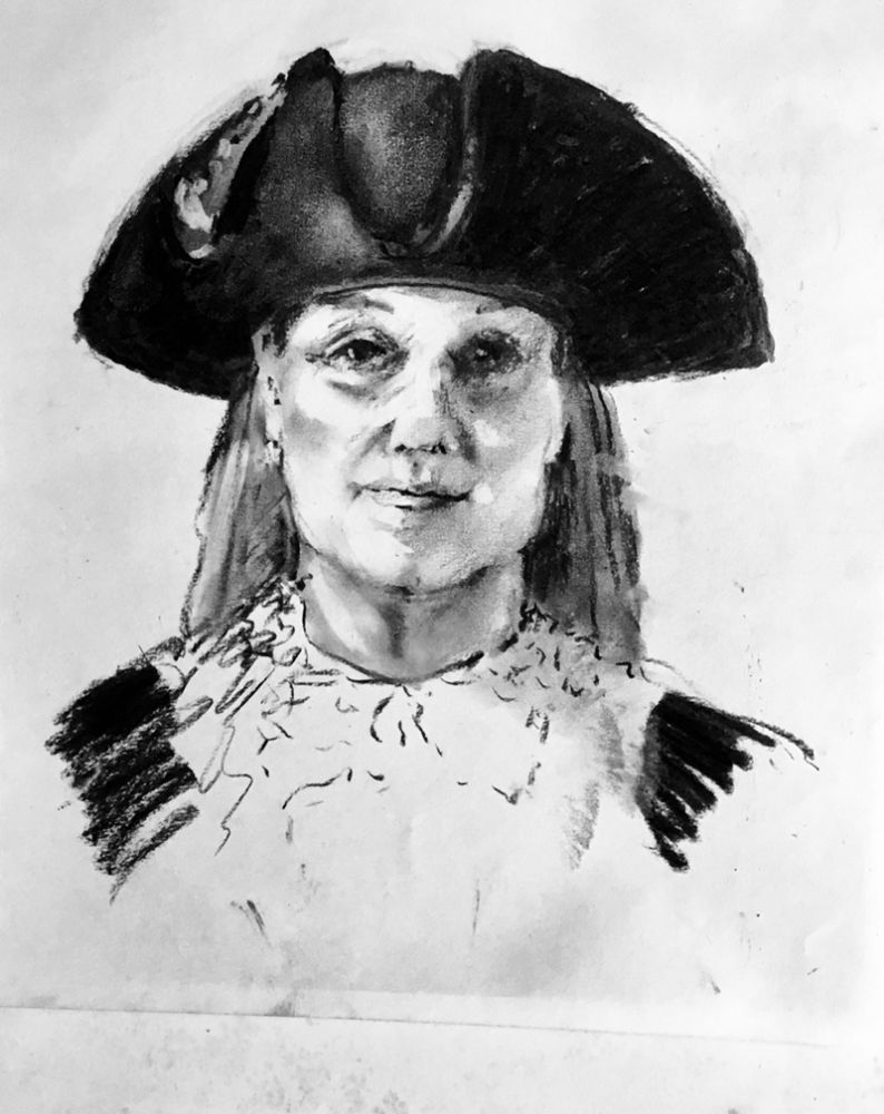 Margaret Marks, Mayor, Bury St Edmunds. Charcoal