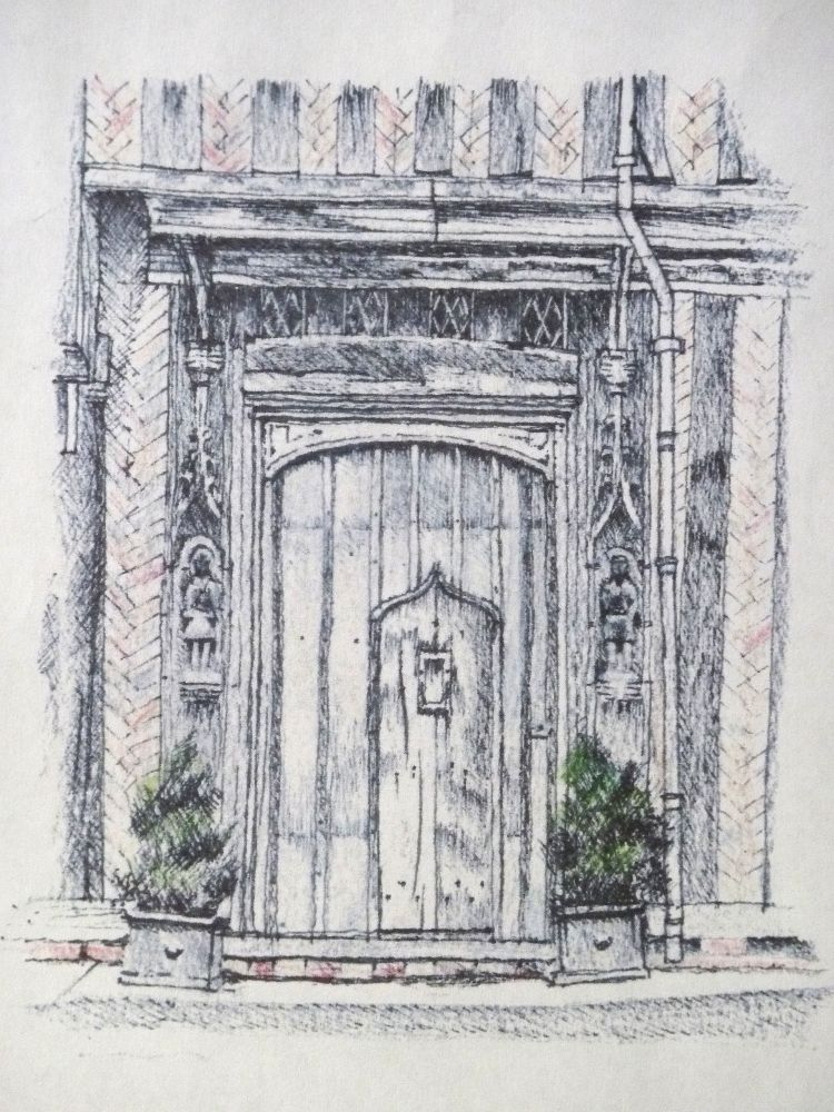 Lavenham doorway. Pen and pencil 12x14cm