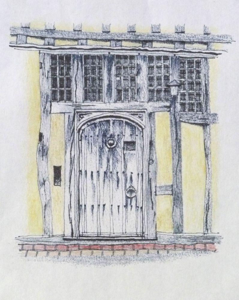 Lavenham doorway 2. Pen and pencil 12x14cm
