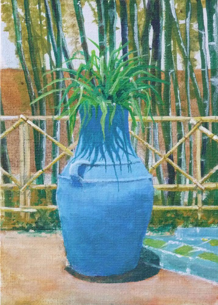 Majorelle Gardens full sun. Acrylic 13x18cm