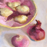 Pears in pink basket