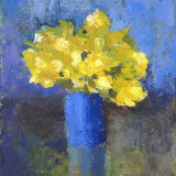 Yellow flowers in blue